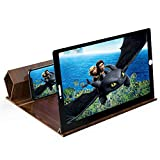 12' Screen Magnifier for Smartphones-3D HD Magnifing Projector Screen Enlarger for Movies, Videos ,Gaming – Foldable Phone Stand Holder with Screen Amplifier – Compatible with All Cell Phone (Brown)