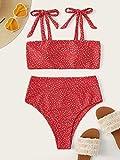 Charm4you Traje de baño Elegante impresión de Estilo étnico,Traje de baño Sexy con Cordones de Bikini Dividido de Color sólido-Red_XL #,Bikinis Mujer 2021