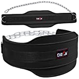 DEFY Premium Double Padded Neoprene Dip Belt with 32' Heavy Duty Steel Chain for Power Lifting, Bodybuilding, Strength & Training-Double Stitched (Black)