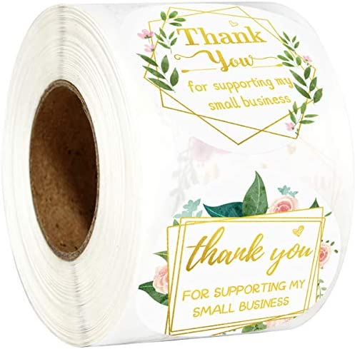 Fancy Land Thank You for Supporting My Small Business Stickers Floral Appreciation Labels for product image