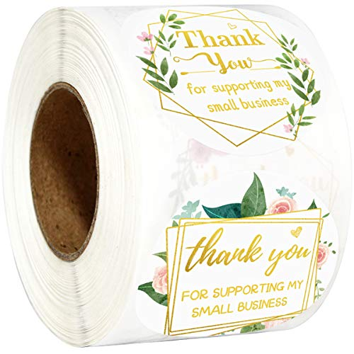 Fancy Land Thank You for Supporting My Small Business Stickers Floral Appreciation Labels for Shops Homemade Crafts 2' 500 Pcs