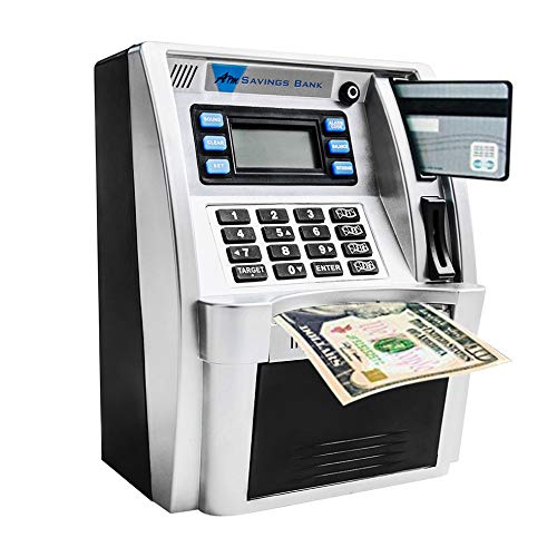LB ATM Savings Bank Electronic Mini ATM Piggy Bank Cash Coin Educational ATM for Birthday Gift
