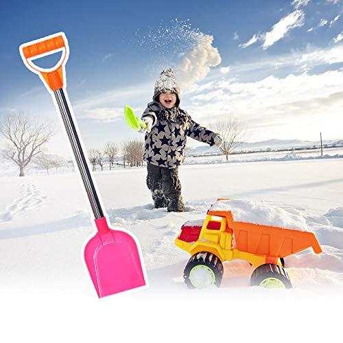 Schneeschaufel Kinder Plastik Stabil, Schneeschieber mit Metall Stiel, Sandschaufel Groß Spielstabil, Kinderschaufel Kunststoffschaufel Gartengeräte für Strand Schnee Winter Outdoor (Pink)