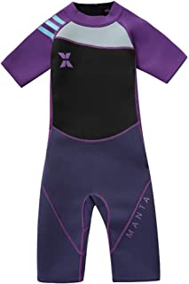 Bañador de Neopreno para Niños Niñas - Traje de Baño Manga Corta con Cremallera Trasera, Protección UV 2-10 Años