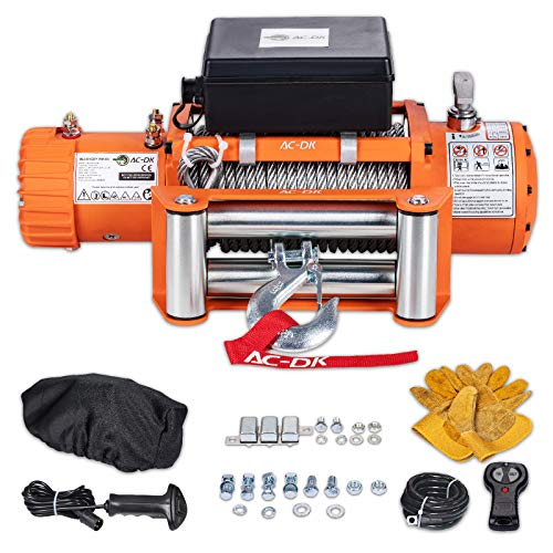 AC-DK 12000 lb. Waterproof IP67 Electric Winch Kit, 12V Winch Steel Cable Electric Winch Truck Winch with Wireless Handheld Remotes and Wired Handle (Include 12500lbs - Steel Cable)