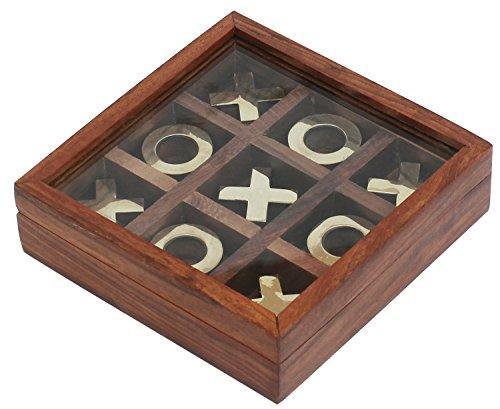 SouvNear Tic Tac Toe spannendes Strategiespiel / Holz-Puzzle / IQ-Spiel / Holzrahmen aus Indien handgefertigten Holz Tic Tac Toe Lehrt Grund Gambits für Kinder und Erwachsene