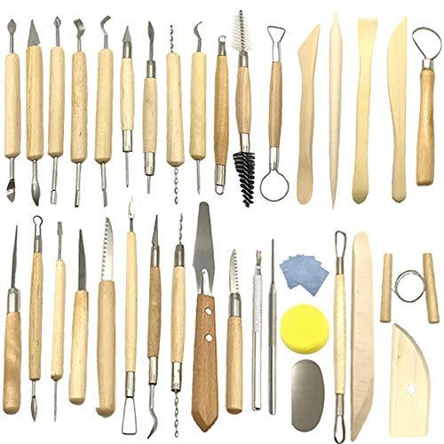 Aisamco 40 Stücke Keramik Ton Werkzeuge Kit Keramik Sculpting Tools Set für Anfänger Professionelle Kunsthandwerk, Holz und Stahl, Schulen und Home Safe für Kinder
