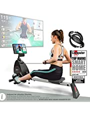 Sportstech RSX400 Roeitoestel, Duits kwaliteitsmerk, videoevenementen & multiplayer app, polsriem incl. roeimachine voor thuis, inklapbaar met 8-voudige magneetweerstand en kogelgelagerde zitting