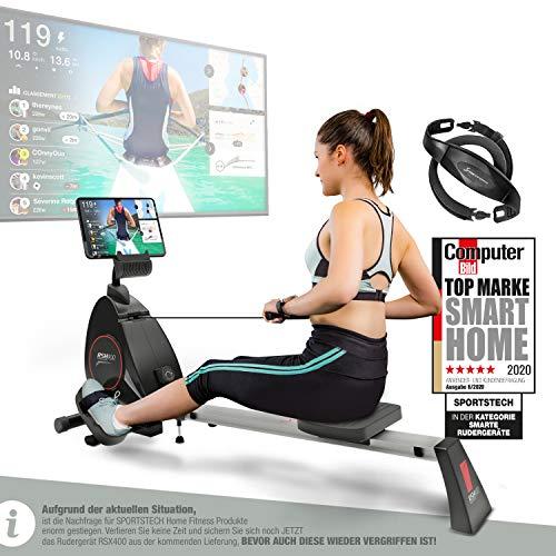 Sportstech RSX400 Vogatore - Marchio di qualità Tedesco - Eventi Video & Mulitplayer App, Cintura cardiofrequenzimetro inclusa, vogatore Ottimo per l'utilizzo in casa, pieghevole, 8x magnetoresistenza