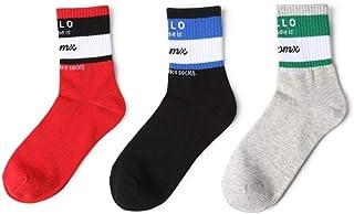 WZDSNDQDY Calcetines de Tubo para Hombre, Calcetines Deportivos con Letras a Rayas Personalizadas, Material de algodón Desodorante 3 Pares