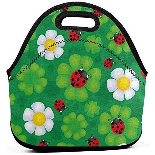 Draagbare Lunch Bag Tote Leuke Lieveheersbeestje Op Geluk Shamrock Klaver St. Patrick's Day Neopreen Lunch Handtas Voedsel Rits Opslag Lunch Box voor Mannen Vrouwen Kinderen