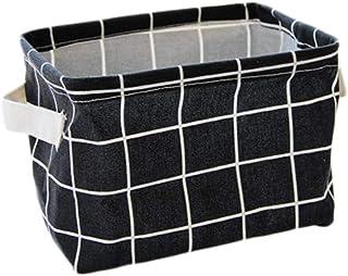 Pufee 1 Pièce Panier de Rangement en Coton et Lin Boîte de Rangement Container Organiseur pour divers de bureau Portable P...
