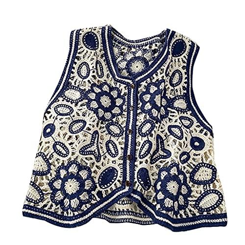 S-TROUBLE Mujeres Vintage Ahuecado Crochet Crop Top Chaleco Bordado Floral Chaqueta sin Mangas Rebeca con Botones Boho Hippie Chaleco Informal