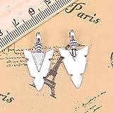 LKJHG 20 Piezas encantos Daga de Punta de Flecha 28x15mm Colgantes Antiguos, joyería de Plata, Bricolaje para Collar de Pulsera