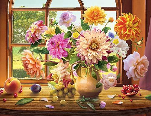 Schilderen op cijfers, set voor volwassenen, kinderen, canvas, zonder lijst, doe-het-zelf, olieverfschilderij, geschenk, bloemen, vensterbank, muur, huis, woonkamer, slaapkamer, decoratie, 40 x 50 cm