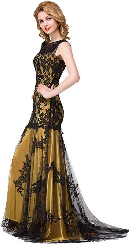 Iris45Felton Women's Boat Neck Tulle Mermaid Elegant Formal Long Sleeveless Dresses