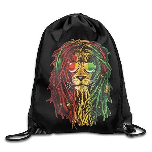 JIMSTRES SAXON13 Unisex Lovely Lion Rasta Hair Drawstring Bag