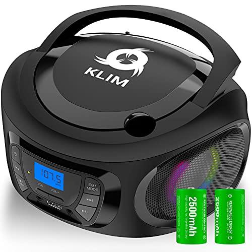 KLIM Boombox - Radio CD Portatil con Bluetooth, MP3, USB, AUX, Radio FM + Reproductor de CD con Pilas Recargables Incluidas + Modo inalámbrico y con Cable Nuevo 2021 + Negro