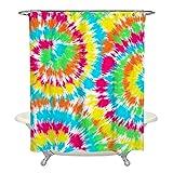 Batik-Duschvorhang, Aquarell-Duschvorhang, Stoff, Badezimmer-Dekoration, Polyester, 183 x 183 cm, mit 12 Haken, bunte Duschvorhänge (drei Batikfarben)