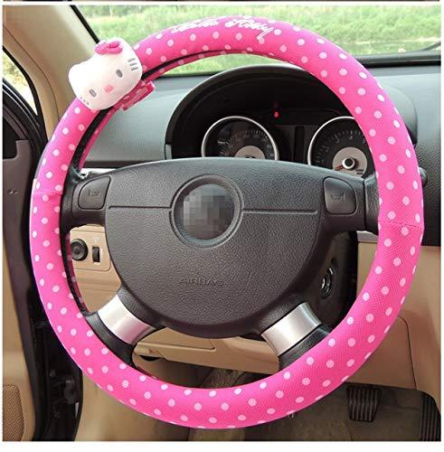 Cubierta del volante del coche Dirección Accesorios for el coche rosa de dibujos animados Hello Kitty 38cm cubierta de rueda de caucho natural saludable transpirable universal ( Color Name : KT02 )
