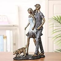 SJNB 父の日犬の散歩愛好家の彫刻レジンハンドインハンドボーイフレンド飾り装飾クラフトギフトガールフレンド