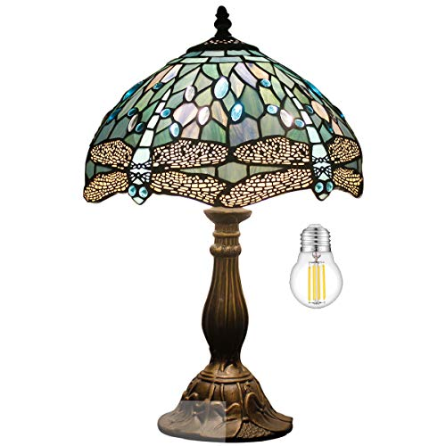 Tiffany Table Lamp W12H18 Inch Tall(LED Bulb Included)Sea Blue Stained Glass Dragonfly Style Shade...