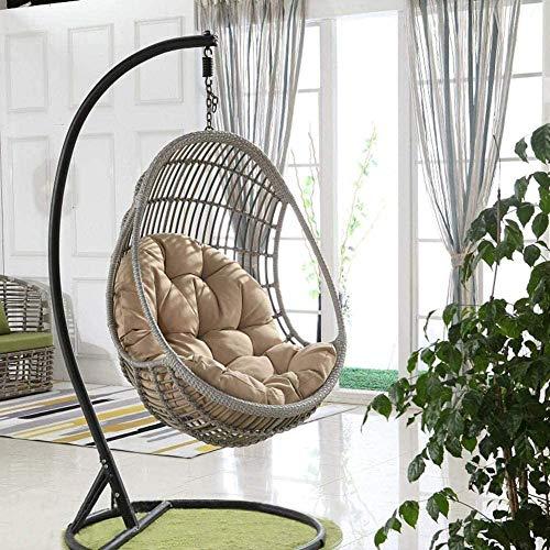 ASDFGH Cojín para colgar en silla de huevo, mimbre, ratán para colgar, cojín antideslizante, suave, extraíble, para decoración de interiores inteligente (color caqui)