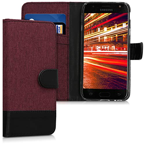 kwmobile Samsung Galaxy J3 (2017) DUOS Hülle - Kunstleder Wallet Case für Samsung Galaxy J3 (2017) DUOS mit Kartenfächern & Stand - Dunkelrot Schwarz