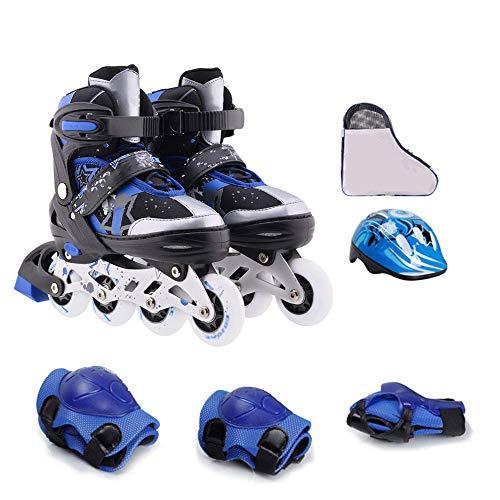 MY1MEY Single Wheel Sneaker Schuhe Verstellbare Inline-Skates, Rolling Light Up Wheels Rollerblades mit Tasche und Sicherheitsausrüstung für Mädchen, Jungen, Kinder und Erwachsene, blaues Set