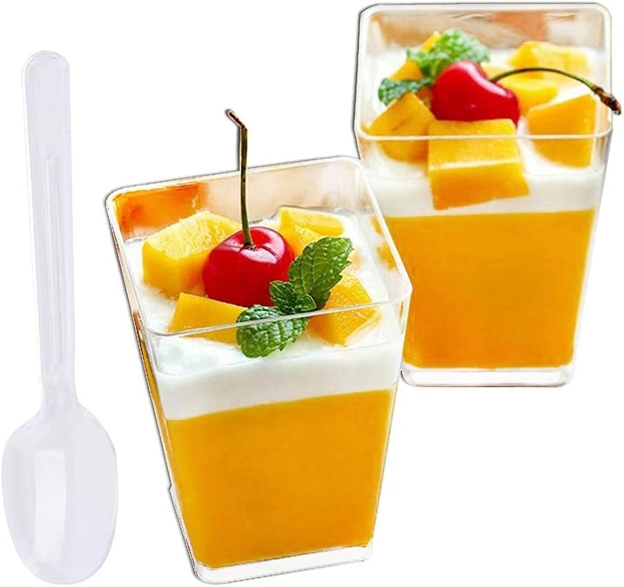 cheap Tall Square Clear Cups Plastic quality assurance Dessert