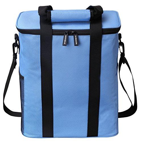 Nuovoware Kühltasche -20L Outdoor Mittagessen Tasche isoloerte Picknicktasche Thermotasche mit Reißverschluss und Handgriff für Männer, Frauen,Kinder, Blau