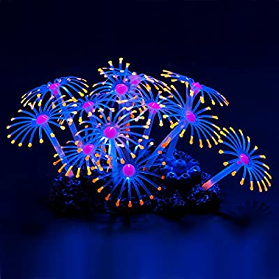 Uniclife Glowing Effect Artificial Coral Plant Décor Ornament for Fish Tank Aquarium, Orange from Uniclife