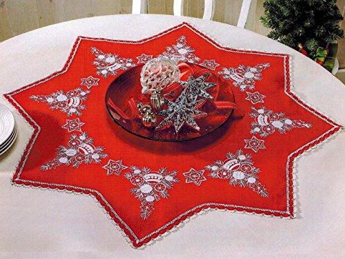 KAMACA Luxus-Stickpackung STERN DER WEIHNACHT in ROT in Sternen - Form mit SPITZE Stickdecke 75x75 cm Stielstich Spannstich Plattstich vorgezeichnet aus Baumwolle komplettes Stickset mit Stickvorlage Weihnachten