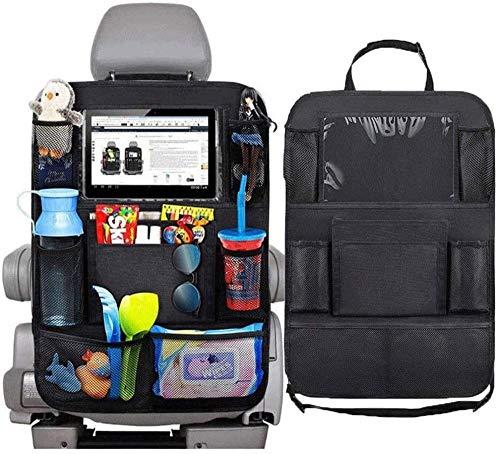 'N/A' Car seat storage bag, 2 packs, multifunctional toy/water bottle bag, 10 iPad holders, waterproof/dustproof travel car rear seat storage bag -Black