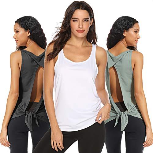 FITTOO Damen Fitness-Trainings Shirt Tank Tops Casual Kurzarm Rückenfrei Shirts für Yoga Workout