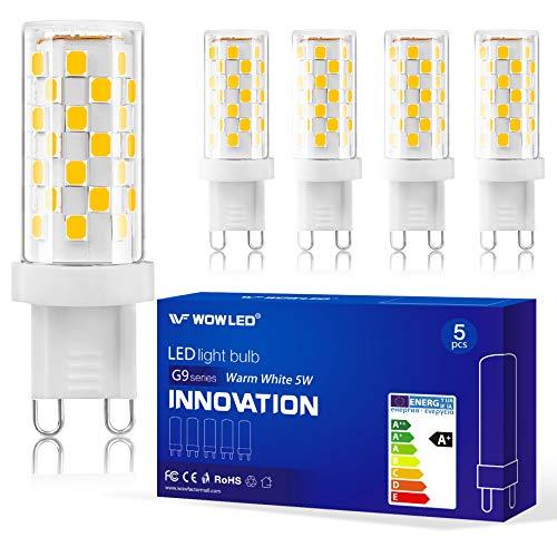 WOWLED LED-Leuchtmittel, 5 W, G9, dimmbar, Keramiksockel Fein warmweiß