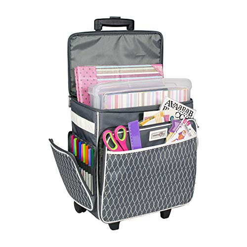 Everything Mary Collapsible Rolling Scrapbook Storage Tote - Scrapbooking Storage Case for Rings, Paper, Binder, Crafts, Beads, Paper, Scissors - Telescoping Handle with Dual Wheels - Craft Case