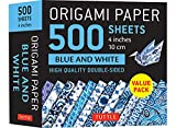 """Origami Paper 500 sheets Blue and White 4"""" (10 cm): High-Quality Double-Sided Origami Sheets Printed with 12 Different Designs (Stationery)"""