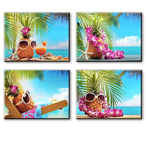 Tropical Canvas Wall Art for Bedroom, PIY Funny Beach Holiday Picture of Sun Glasses Pineapple, Relax Vocation Cute Hawaii Leisure Time Prints Decor (Lovely Waterproof Artwork, Ready to Hang)