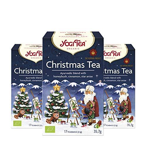 Yogi Tea 3x Christmas Bio Yogi Tee I weihnachtliche Gewürz-Tee-Mischung - mit Zimt Stern-Anis Nelken uvm. I Bio-Qualität - 3x 17 Tee-Beutel