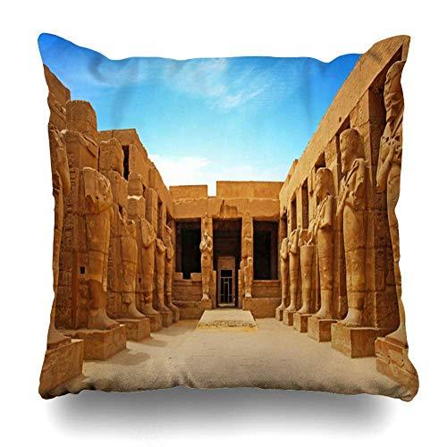 Fundas de Almohadas Decorativas Fundas de Almohada, ruinas Antiguas del Templo de Karnak en Luxor, patrón de Egipto, Funda de Almohada Decorativa de Doble Cara para decoración del hogar