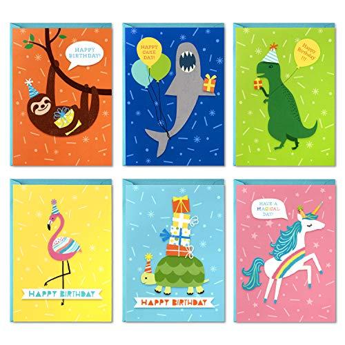 Hallmark Birthday Cards for Kids Assortment, 48 Cards with Envelopes (Dinosaurs, Sloths, Unicorns, Flamingos, Turtles, Sharks)