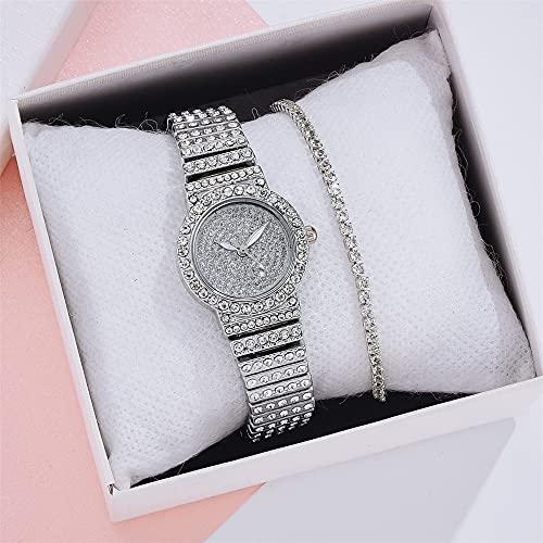 YIBOKANG 2pcs Señoras Temperamento De Moda Completo Diamante Pequeño Dial Reloj A Prueba De Agua con 1 Pulsera De Diamantes De Imitación Chica Creativa Sin Escala Pulsera De Diamantes