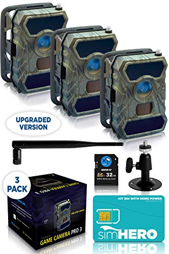 CREATIVE XP 3G Cellular Trail Cameras – Outdoor WiFi Full HD Wild Game Camera with Night Vision for Deer Hunting, Security - Wireless Waterproof and Motion Activated – 32GB SD Card + Sim Card (3-Pack)