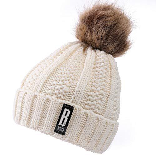Valpeak Bonnet d'hiver à pompons pour femme doublé en polaire - Blanc - Medium