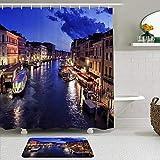 LISNIANY Conjunto De Ducha Cortina Alfombra,Agua Punto de Referencia Venecia Hermosa Romántica Ciudad Italiana Tradicional,Uso en baño, Hotel