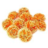 Mentin – Lote de 10 cabezas de flor de ojal artificial, decoración de casa, artesanía, color naranja