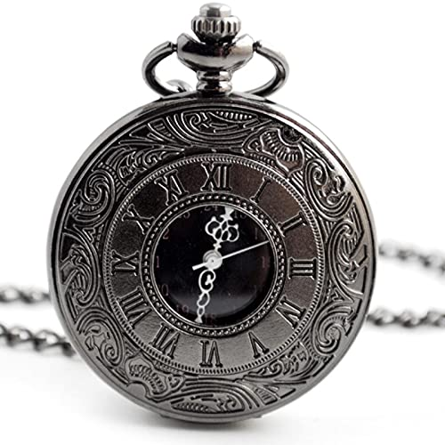 CXSM Reloj de Bolsillo Steampunk de Cuarzo con número Romano de Moda Unisex Negro, Colgante de Collar para Hombre y Mujer con Cadena, Regalos, Negro