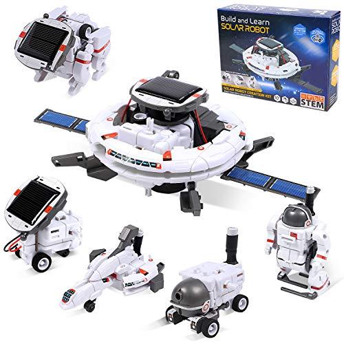 Latocos 6 in 1 Solar Roboter Bausatz Roboter Spielzeug Kinder ab 8,9,10-12+ Jahren für Jungen Mädchen, Solar Angetrieben DIY Lernspielzeug Konstruktionsspielzeug Geschenk