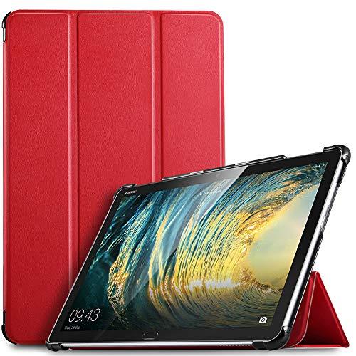 IVSO Hülle für Huawei MediaPad M5 Lite 10, Ultra Schlank Slim Schutzhülle Hochwertiges PU mit Standfunktion Ideal Geeignet für Huawei MediaPad M5 Lite 10 10.1 Zoll 2018 Modell, Rot